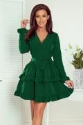 297-1 Krátke zelené šaty s volánmi CAROLINE