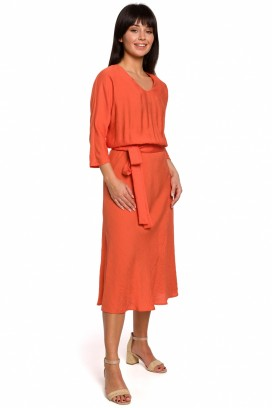 Dámske midišaty s opaskom oranžové model 141460 BE